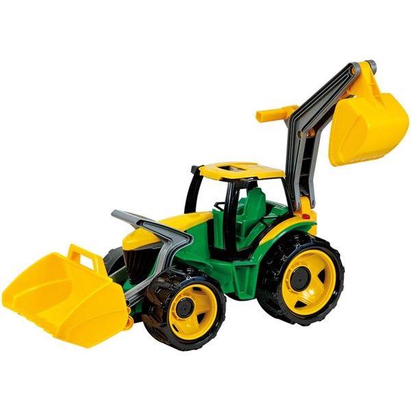Lena Kæmpe Traktor med frontskovl og gravekran, 107cm